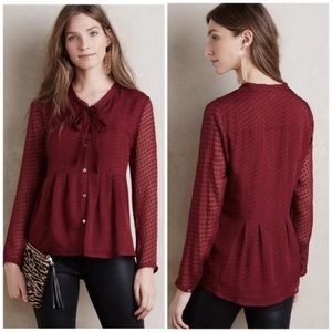 Anthropology Meadow Rue Burgundy Swiss Dot Blouse
